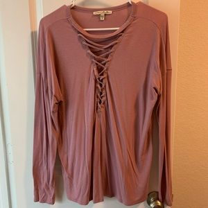 Pink strappy long sleeve